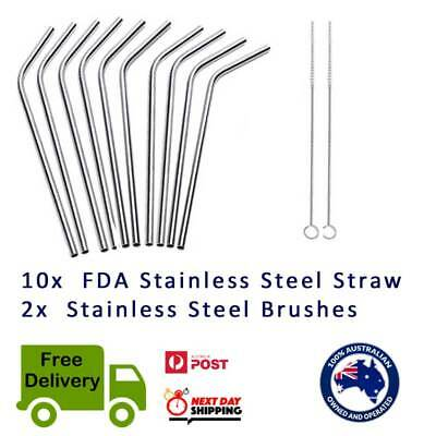 2/5/10 Bent Stainless Steel Metal Drinking Straw FREE BRUSH Food Grade BPA Free