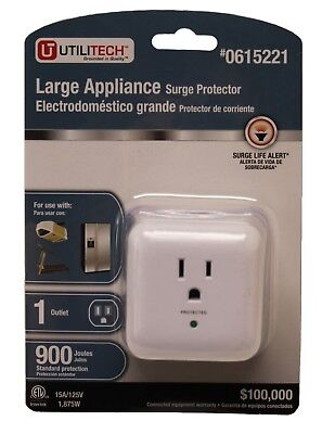 Utilitech Large Appliance Surge Protector 1 Outlet 900 Joules