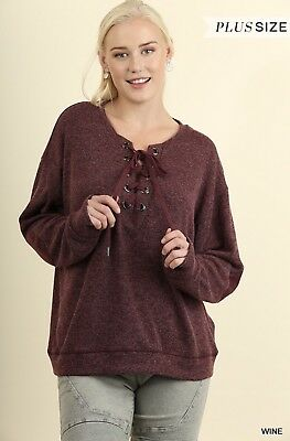 58814556f NWT Umgee Boutique Boho Hippie Fashion Burgundy Lace Up Pull Over Top XL