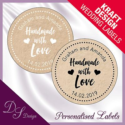 DSD062 Personalised HANDMADE WITH LOVE Labels Stickers Wedding Kraft Effect