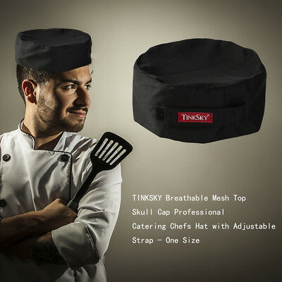 TINKSKY Breathable Mesh Top Skull Cap Catering Chefs Hat w/Adjustable Strap AU