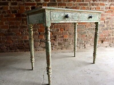 Magnificent French Painted Side Table Desk Antique 19th Century Distressed Pine
