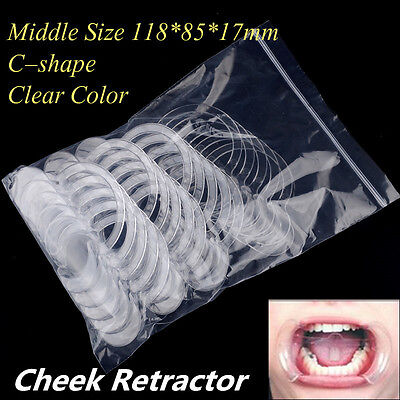 US 20x Cheek Retractor Dental C-Type Middle Clear Teeth Whitening Mouth Opener