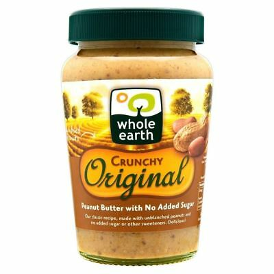 Whole Earth Crunchy Original Peanut Butter No Added Sugar (340g) - Pack of 6