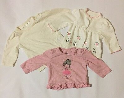 Nutmeg PEP&CO Baby Girls X3 Pink White Cream Long Sleeve T-Shirts 0-3 Months Top