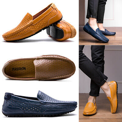 Men's Casual Breathable Leather Loafers Flat Slip On Walking Boat Hole Shoes