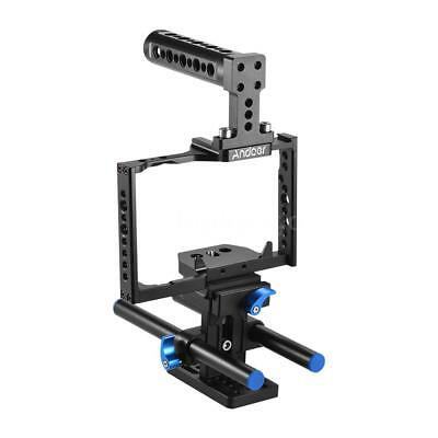 Andoer Aluminum Alloy Camera Cage + Top Handle + 15mm Rod Baseplate Kit M9W2