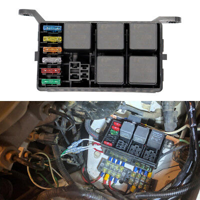 Fuse Box 6 Relay Socket Block Holder 5 Road Car Auto Truck Pickup ATV Insurance