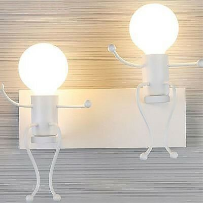 Modern small people wall lamp LED creative installation iron candlestick ch R5K0