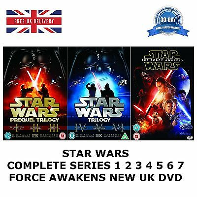 Star Wars Series 1-7 Complete Collection 1 2 3 4 5 6 7 Prequel Force New Uk Dvd