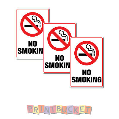 No smoking Stickers 65mm x 100mm 3 Pack quality non fade waterproof vinyl