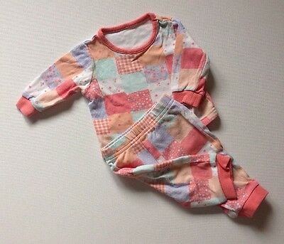 George Baby Girls Floral & Checkered Pyjama Top And Bottom Outfit Set 0-3 Months