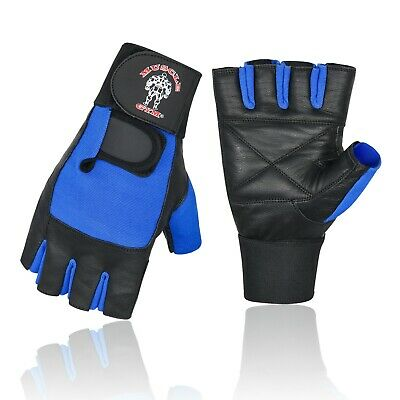 Leather Weight Lifting Gym Gloves With Wrist Supports Gym Straps Padded Gloves