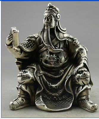 Collectible Decorated Old Handwork Tibet Silver Carved Guandi Read Statue NO233