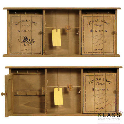 Shabby French Chic Vintage Wooden Wall Mounted Key Holder Storage Cabinet Unit