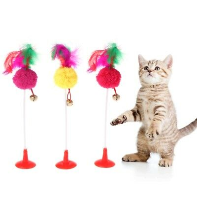 Cat Toys Feather Ball Bottom Sucker With Bell Funny Playing Kitten Pets Teaser