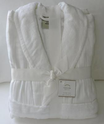 POTTERY BARN White Linen Luxe Turkish Bath Robe Medium New in Package SOLD OUT!