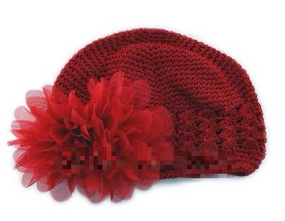 Red Crochet Beanie Hat With Red Flower For Baby