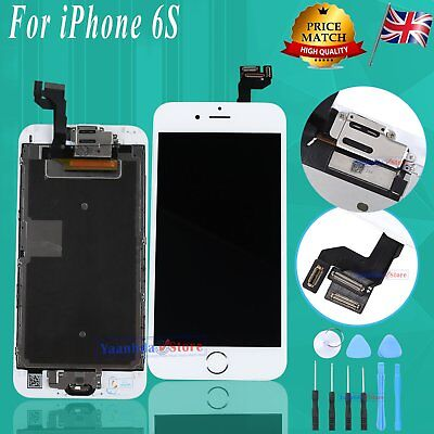 For iPhone 6S LCD Display Screen Touch Digitizer + Home Button Camera White UK