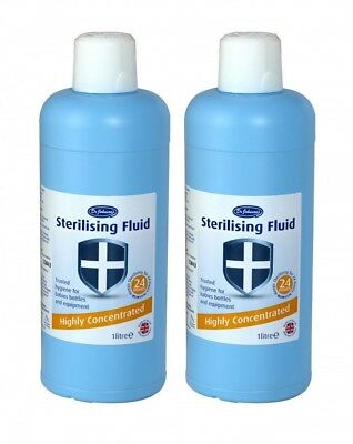 Dr Johnson's Highly Concentrated Sterilising Fluid 1 Litre x2 (2 Litre)