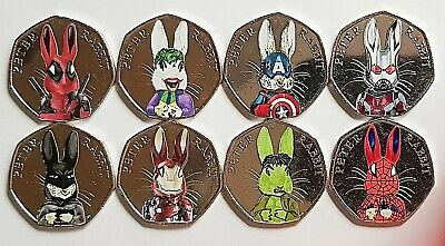 Peter Rabbit Superheros 50p 2016 coin stickers high quality and colour x 8