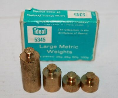 VINTAGE OHAUS 5502 6 piece Brass gram weights & IDEAL 5345 large metric weights