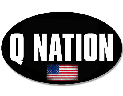 3x5 inch Oval Q NATION Sticker -us qanon anon conservative trump USA Made bumper