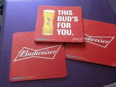 Budweiser - Three Cardboard Beer Mats / Coasters