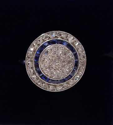 Art Deco 0.75ct Diamond and Sapphire Cluster Ring  18ct White Gold - Size N 1/2