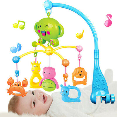 Kid Baby Musical Crib Bed Cot Mobile Stars Dreams Light Flash Nusery Lullaby Toy
