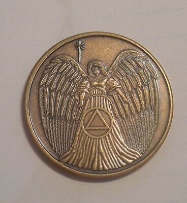Aa Bronze Alcoholics Anonymous Guardian Angel Chip Coin Medallion New Free Ship