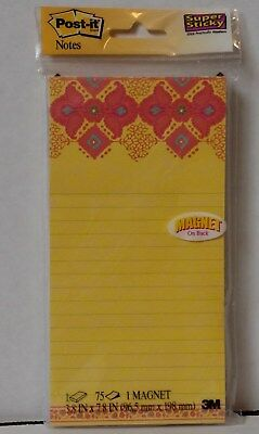 """Post-it Notes, Super Sticky Magnetic Pad, 4"""" x 8"""", Lined, Yellow ~ Free Shipping"""