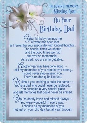 Grave Card MISSING YOU ON YOUR BIRTHDAY DAD Graveside Verse Memorial Memoriam