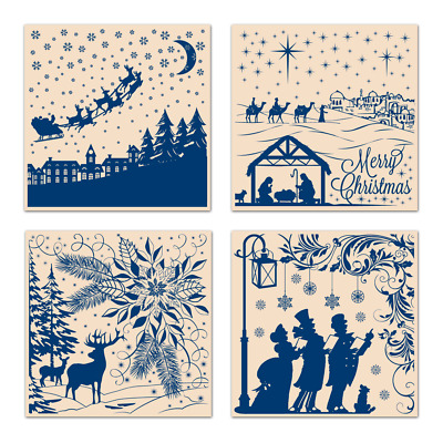 "Tattered Lace Magical Christmas EMBOSSING FOLDER COLLECTION - Four 7""x7"" Folders"