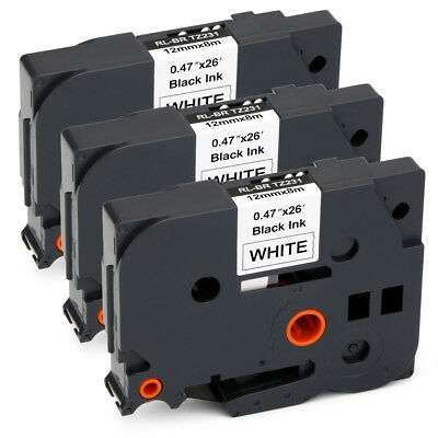 3PK Compatible for Brother TZ-231 Black on White P-Touch Label Tape TZe231 12mm