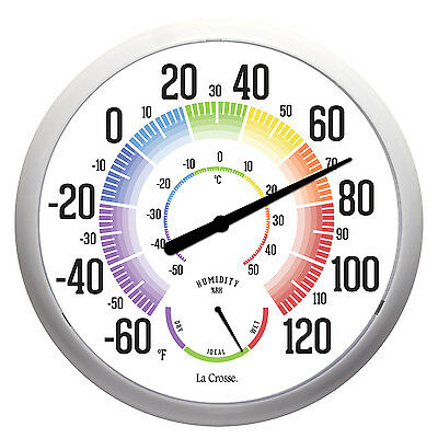 """104-1534A La Crosse 13.5"""" Round Indoor/Outdoor Dial Thermometer with Humidity"""