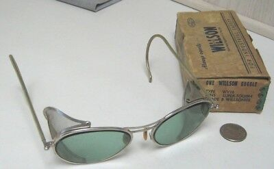 Vintage Willson Tinted Safety Glasses Goggles Aviation Motorcycle Sunglasses