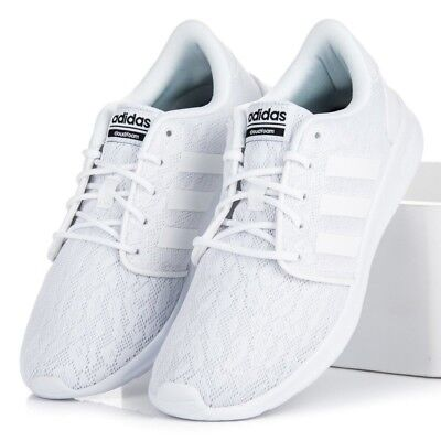 pretty nice 2a8ca 2304c Women Adidas Cloudfoam QT Racer White Lace Sneakers Running Shoes NEW