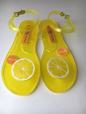 128356b8eec New Women s Katy Perry The Geli Lemon Scented Fruit Jelly Sandals Size 10