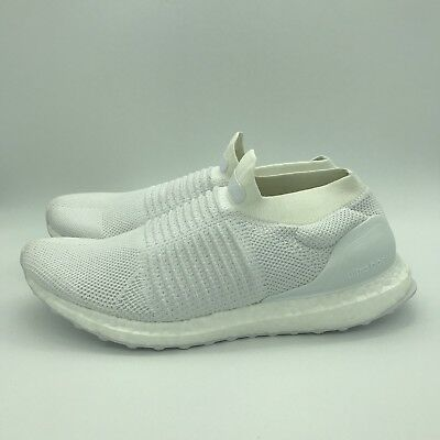 bccba82a0d129 Adidas Ultra Boost Laceless Triple White Mens Size 9.5 Athletic Shoes  S80768 NEW