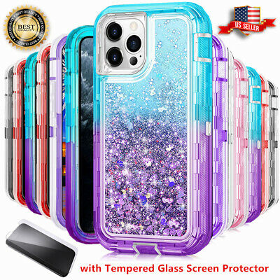 For iPhone 6S 7 8 Plus XS Max XR Defender Liquid Glitter Case fits Otterbox Clip