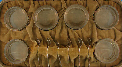 WOW Sterling Silver & Glass Salters & Spoons Set with Box