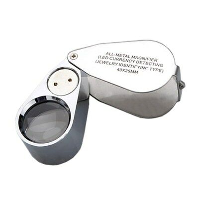 40x LED Pocket Magnifier Jeweller Eye Glass Loop Lens Magnifying Loupe UV L A7E5