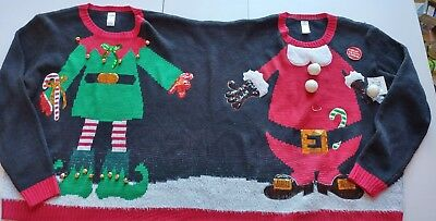 nwt two person double headed santaelf ugly christmas sweater unisex size lxl