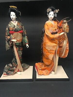 Japanese (two) Geisha Doll Statue Porcelain Vintage