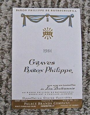 Vintage Wine Label 1984 Graves Baron Philippe de Rothschild