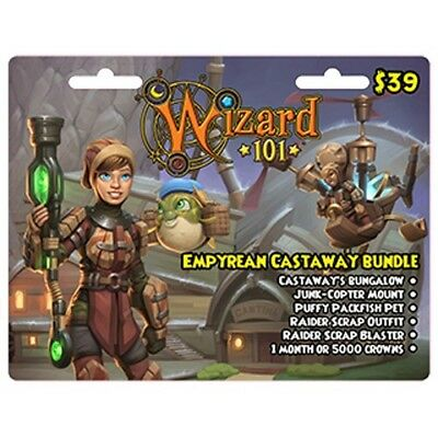 NEW WIZARD 101 EMPYREAN BUNDLE Game Card Crowns Puffy Packfish Pet Copter  Mount