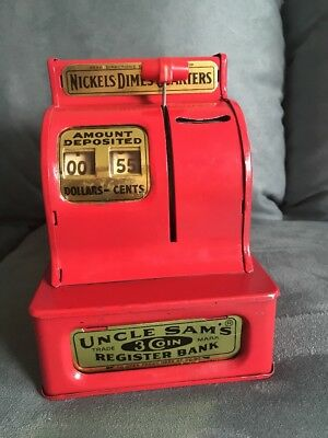 Vintage UNCLE SAM'S RED METAL 3-COIN REGISTER BANK by Western Stamping Corp.