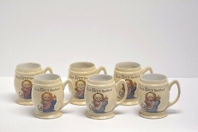 6 Antique Hires Root Beer Mugs Villeroy Bach Mettlach Pottery 1906-1907