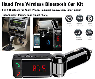 Hands Free 4 in 1 Bluetooth Car Kit FM Transmitter Car Charger USB Music Player
